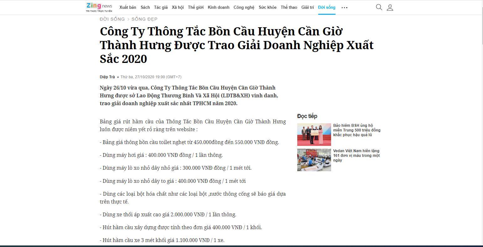 Báo Zingnews nói về Công Ty Thông Tắc Bồn Cầu Toilet Huyện Cần Giờ Thành Hưng