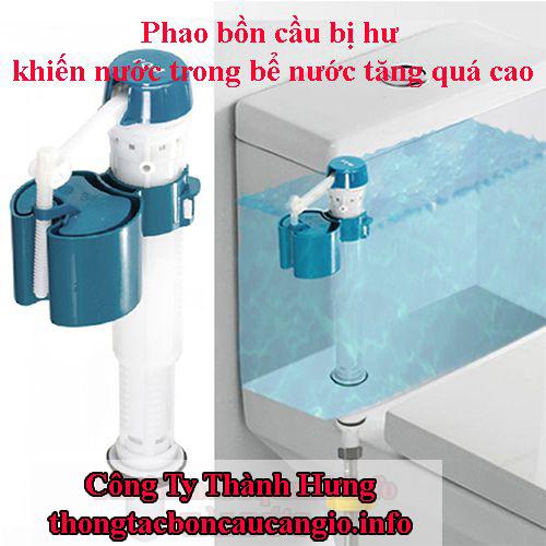 Phao bồn cầu bị hư khiến nước trong bể nước tăng quá cao